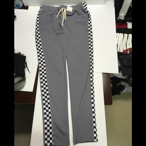 EPTM Gray Track Pants Checkered Side Stripe